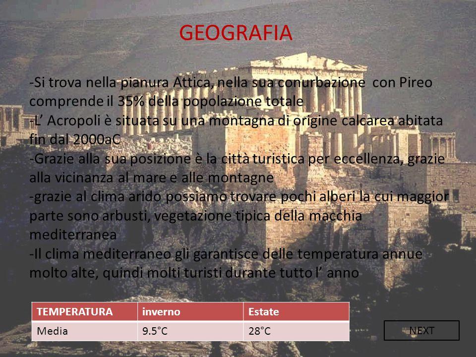 GEOGRAFIA -Si trova nella pianura Attica, nella sua conurbazione con Pireo comprende il 35% della popolazione totale.