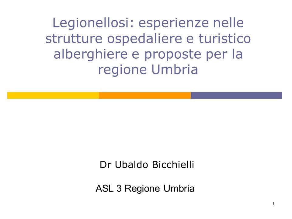 Legionellosi: esperienze nelle strutture ospedaliere e turistico alberghiere e proposte per la regione Umbria