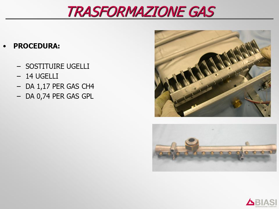 TRASFORMAZIONE GAS PROCEDURA: SOSTITUIRE UGELLI 14 UGELLI