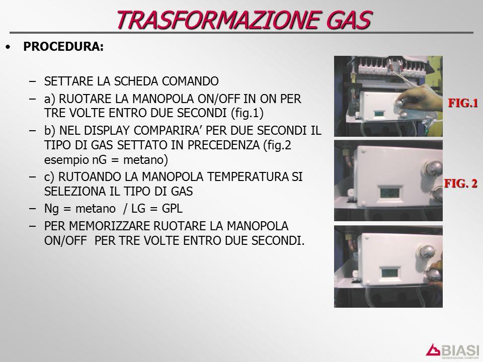 TRASFORMAZIONE GAS PROCEDURA: SETTARE LA SCHEDA COMANDO