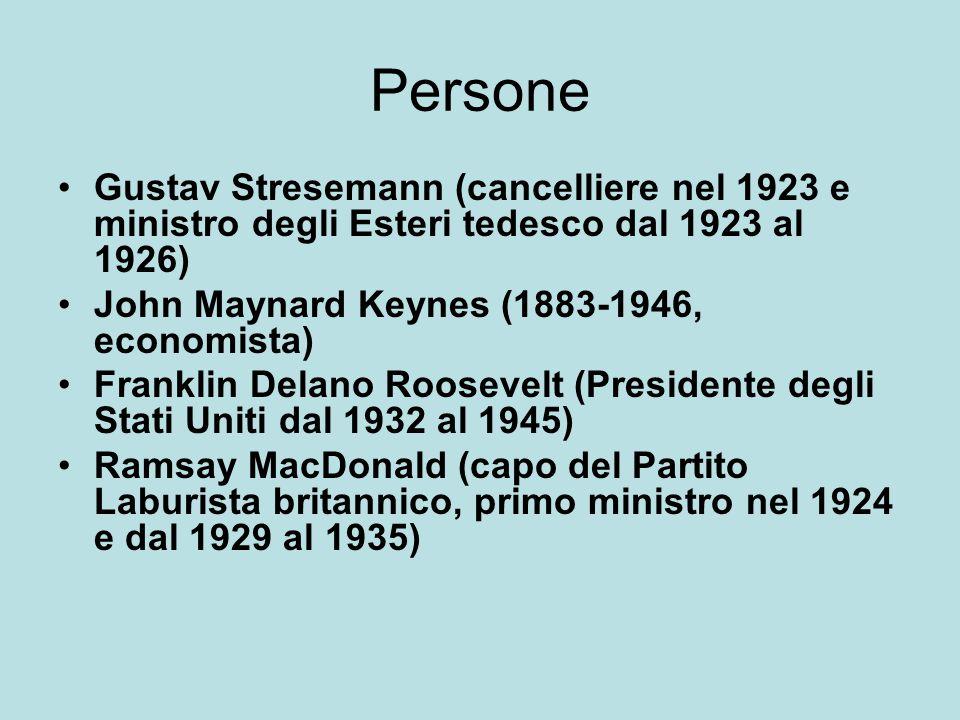 Persone Gustav Stresemann (cancelliere nel 1923 e ministro degli Esteri tedesco dal 1923 al 1926) John Maynard Keynes (1883-1946, economista)