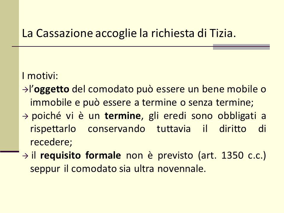 La Cassazione accoglie la richiesta di Tizia.