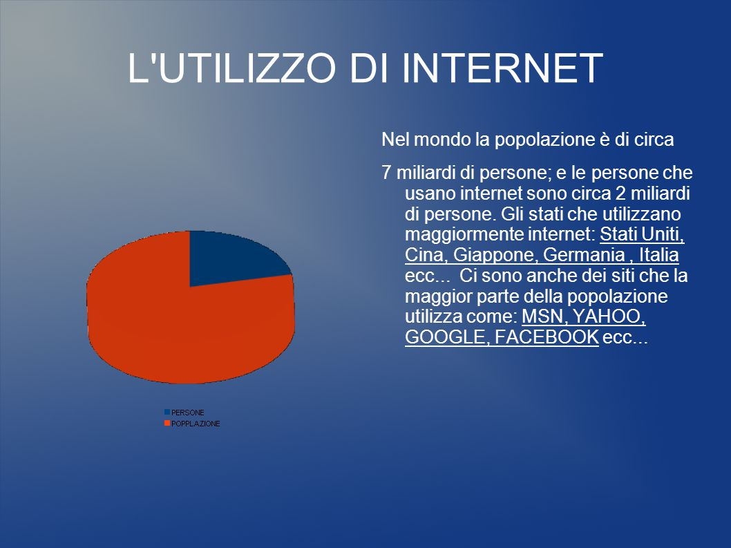 L UTILIZZO DI INTERNET Nel mondo la popolazione è di circa