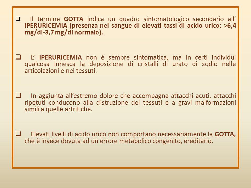 Il termine GOTTA indica un quadro sintomatologico secondario all' IPERURICEMIA (presenza nel sangue di elevati tassi di acido urico: >6,4 mg/dl-3,7 mg/dl normale).