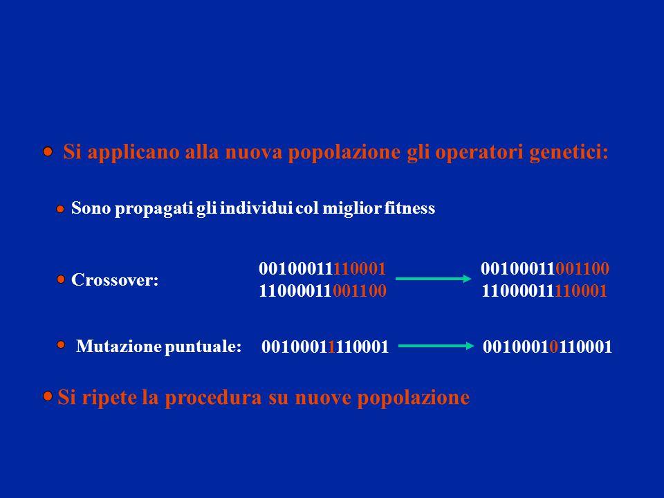 Si applicano alla nuova popolazione gli operatori genetici: