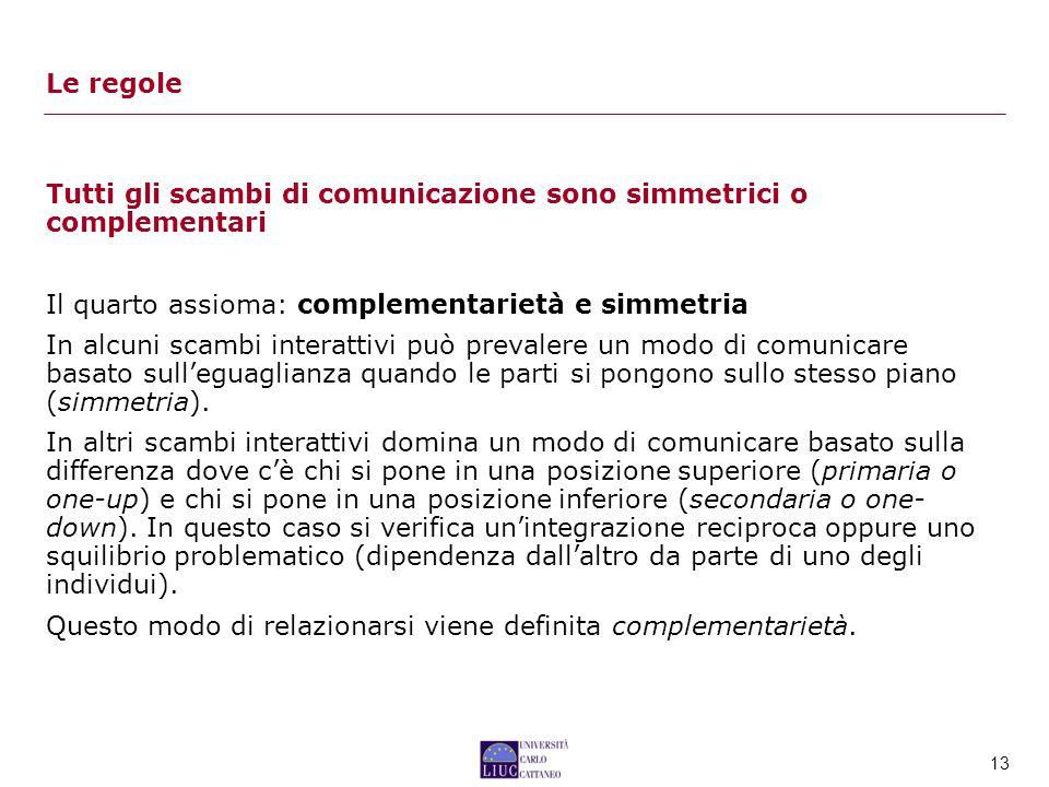 Le regole Tutti gli scambi di comunicazione sono simmetrici o complementari. Il quarto assioma: complementarietà e simmetria.