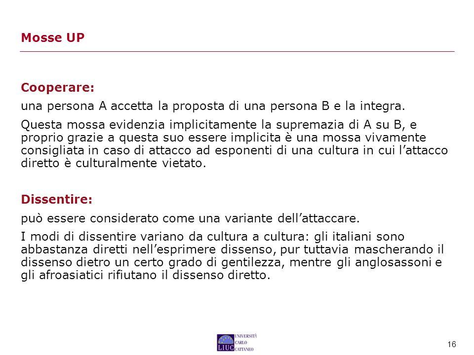 Mosse UP Cooperare: una persona A accetta la proposta di una persona B e la integra.