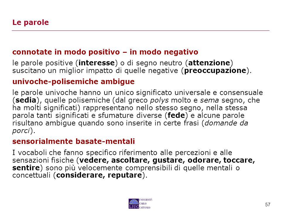Le parole connotate in modo positivo – in modo negativo.