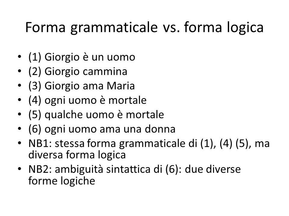 Forma grammaticale vs. forma logica