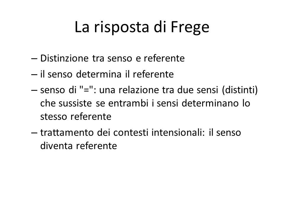 La risposta di Frege Distinzione tra senso e referente
