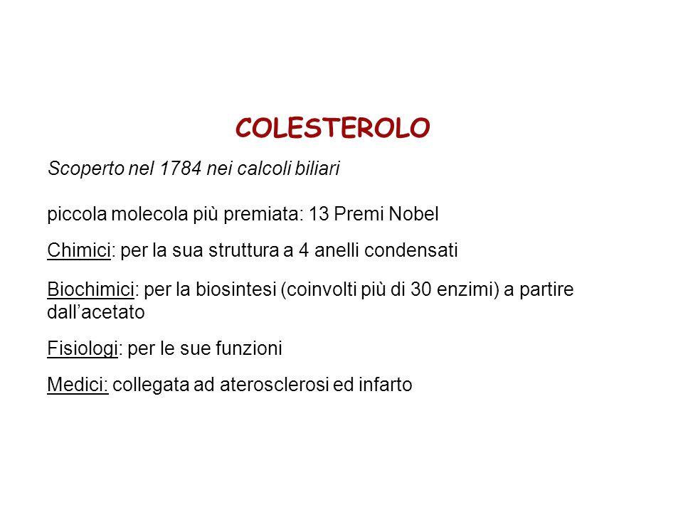 COLESTEROLO Scoperto nel 1784 nei calcoli biliari