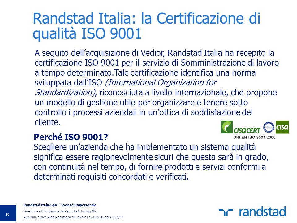 Randstad Italia: la Certificazione di qualità ISO 9001