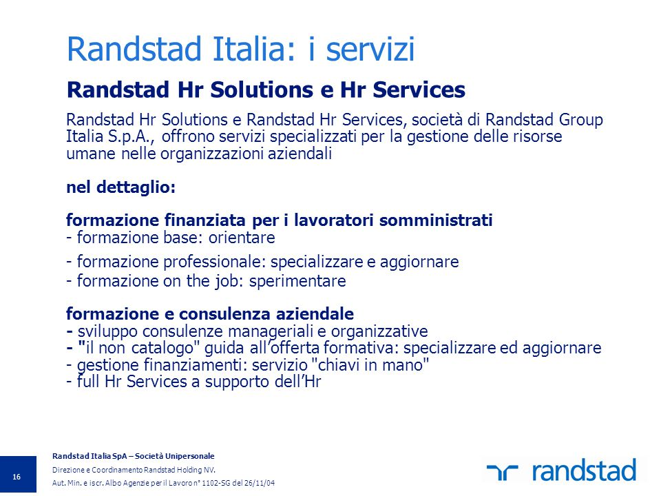 Randstad Italia: i servizi
