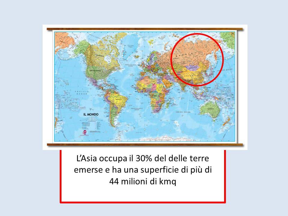 L'Asia occupa il 30% del delle terre emerse e ha una superficie di più di 44 milioni di kmq