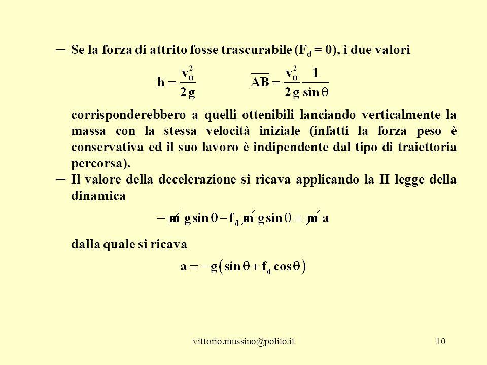 Se la forza di attrito fosse trascurabile (Fd = 0), i due valori