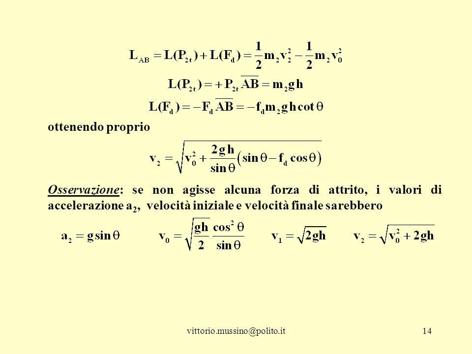 ottenendo proprio Osservazione: se non agisse alcuna forza di attrito, i valori di accelerazione a2, velocità iniziale e velocità finale sarebbero.