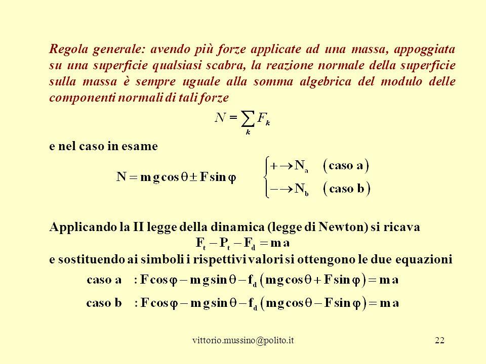 Applicando la II legge della dinamica (legge di Newton) si ricava