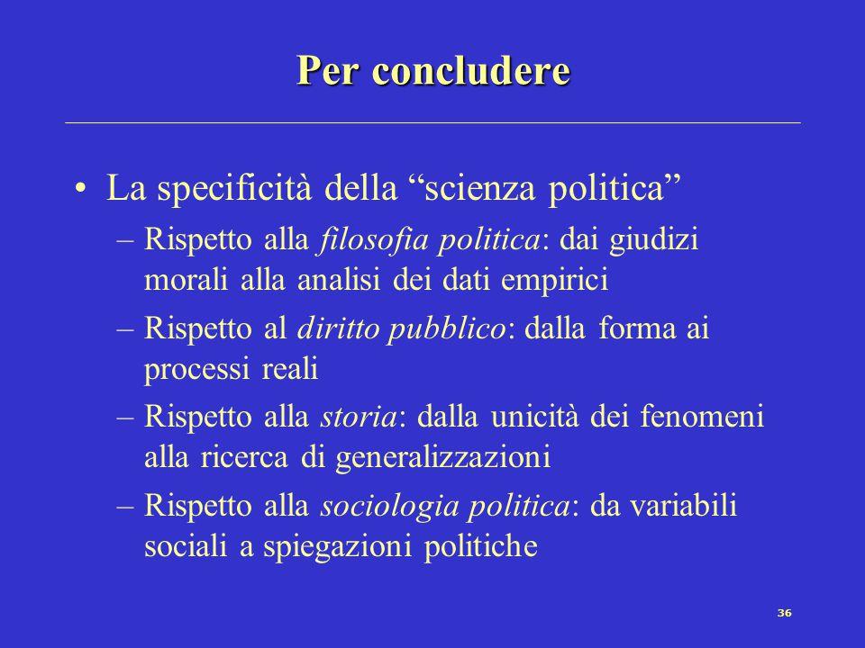 Per concludere La specificità della scienza politica