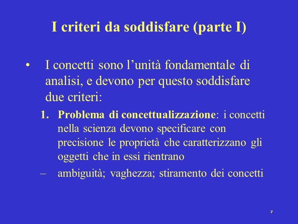 I criteri da soddisfare (parte I)