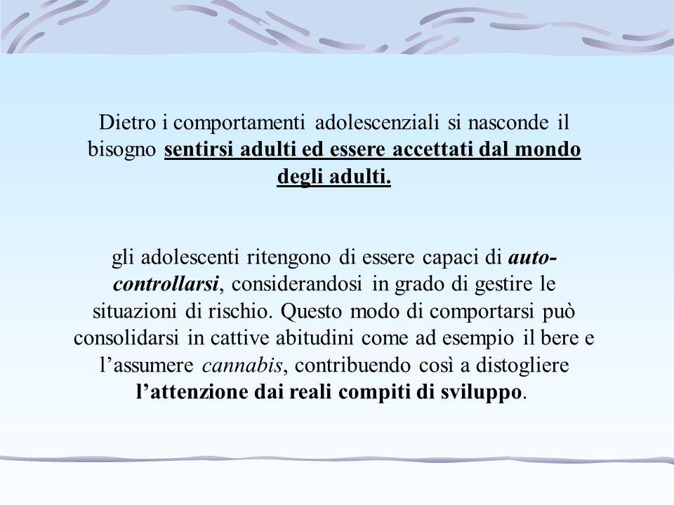 Dietro i comportamenti adolescenziali si nasconde il bisogno sentirsi adulti ed essere accettati dal mondo degli adulti.