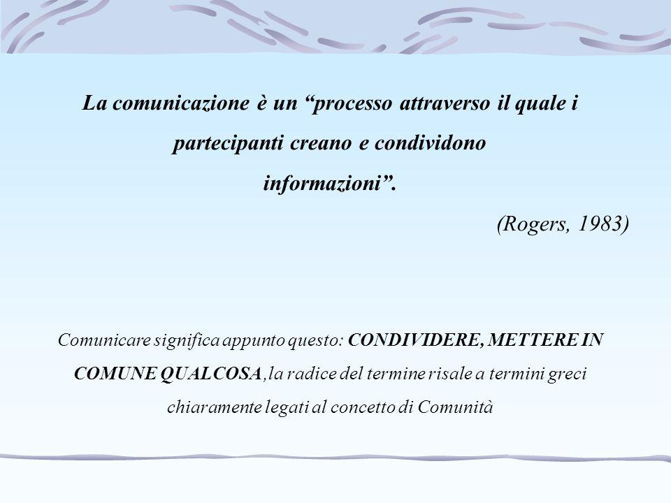 La comunicazione è un processo attraverso il quale i partecipanti creano e condividono