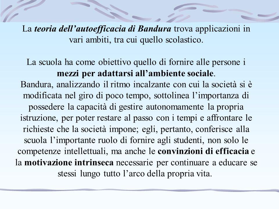 La teoria dell'autoefficacia di Bandura trova applicazioni in vari ambiti, tra cui quello scolastico.