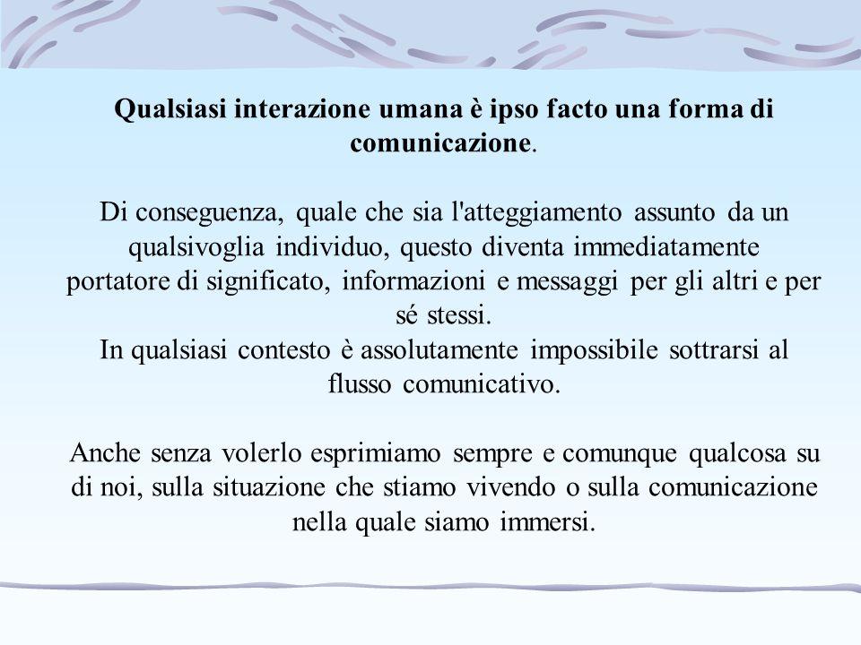 Qualsiasi interazione umana è ipso facto una forma di comunicazione.