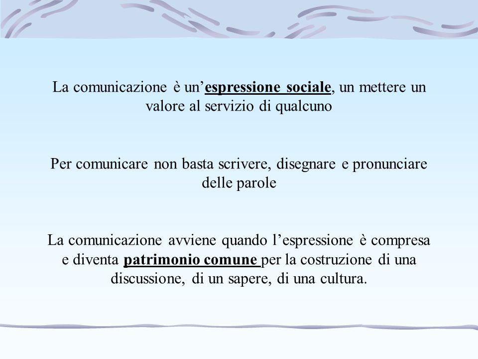 La comunicazione è un'espressione sociale, un mettere un valore al servizio di qualcuno