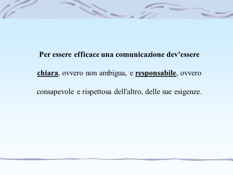 Per essere efficace una comunicazione dev essere chiara, ovvero non ambigua, e responsabile, ovvero consapevole e rispettosa dell altro, delle sue esigenze.