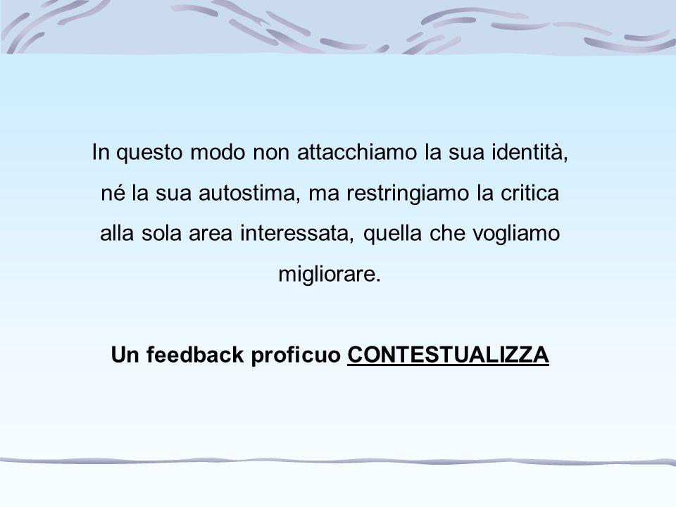 Un feedback proficuo CONTESTUALIZZA