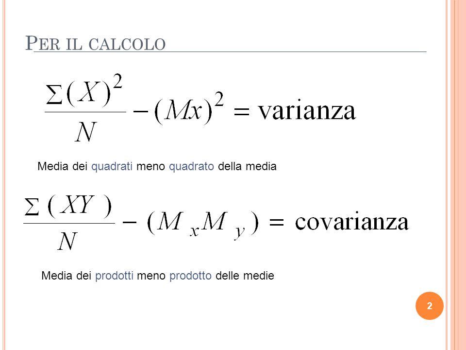 Per il calcolo Media dei quadrati meno quadrato della media