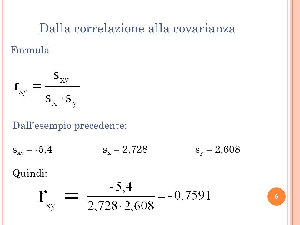 Dalla correlazione alla covarianza