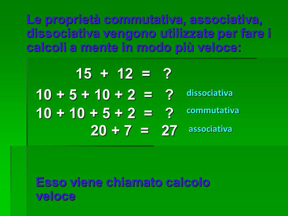 Le proprietà commutativa, associativa, dissociativa vengono utilizzate per fare i calcoli a mente in modo più veloce: