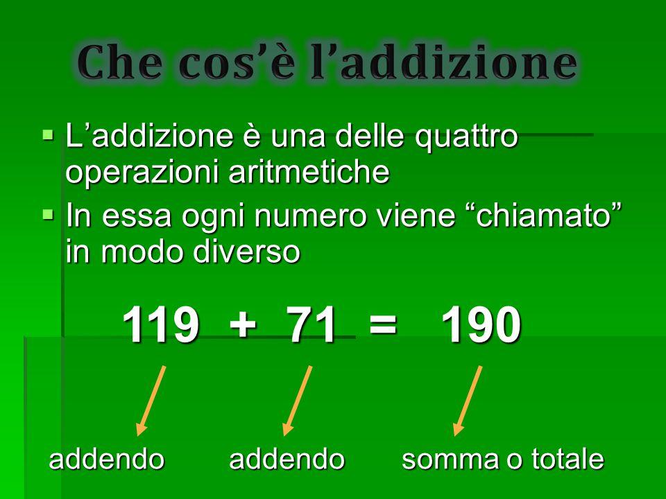 119 + 71 = 190 L'addizione è una delle quattro operazioni aritmetiche