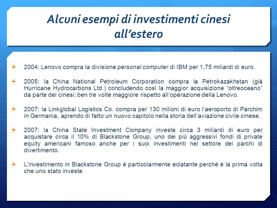 Alcuni esempi di investimenti cinesi all'estero