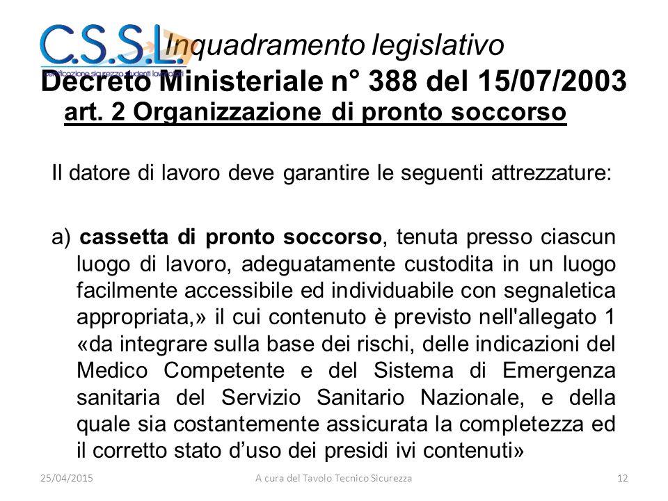 Inquadramento legislativo Decreto Ministeriale n° 388 del 15/07/2003
