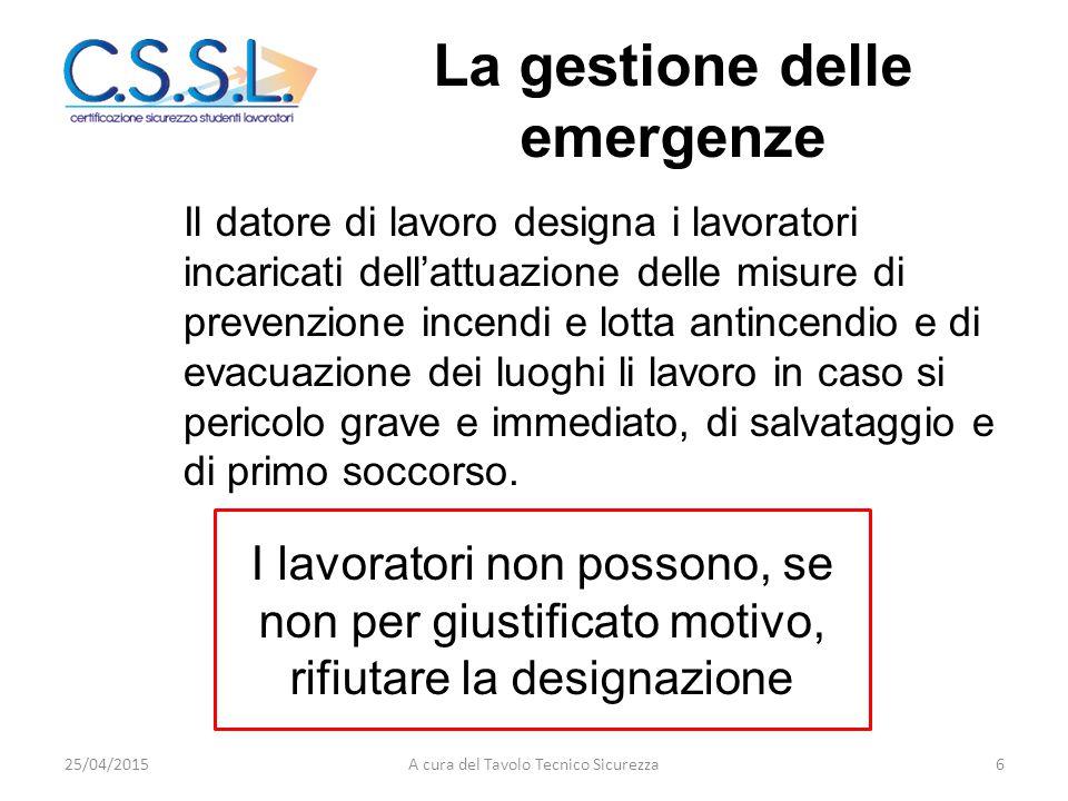 La gestione delle emergenze