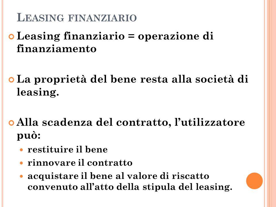 Leasing finanziario Leasing finanziario = operazione di finanziamento