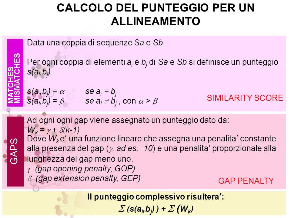 CALCOLO DEL PUNTEGGIO PER UN ALLINEAMENTO