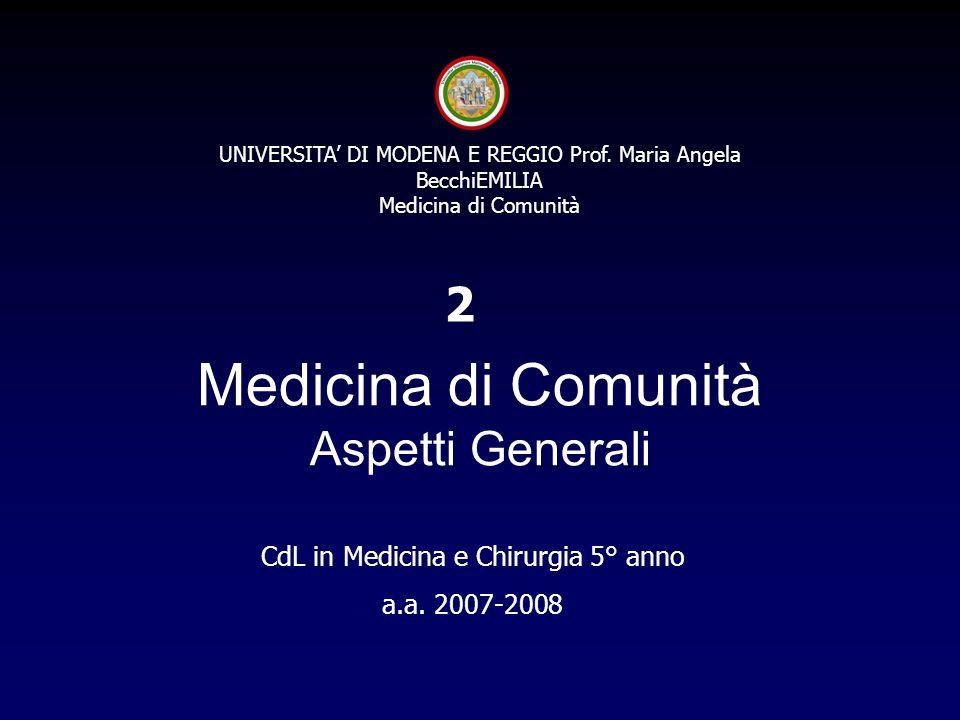 Medicina di Comunità Aspetti Generali