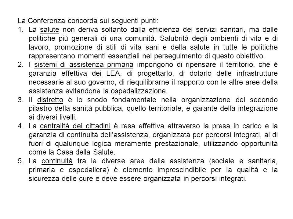 La Conferenza concorda sui seguenti punti: