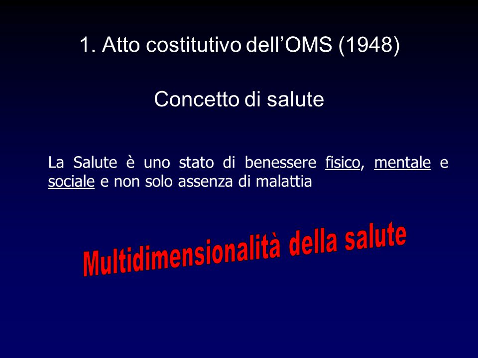 1. Atto costitutivo dell'OMS (1948)