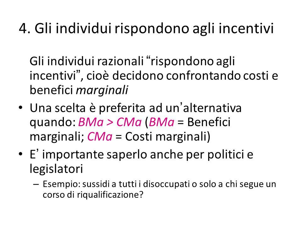 4. Gli individui rispondono agli incentivi
