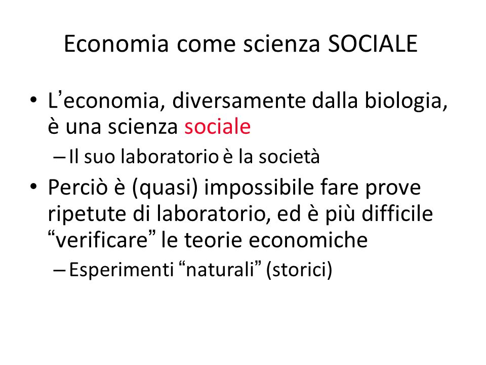 Economia come scienza SOCIALE