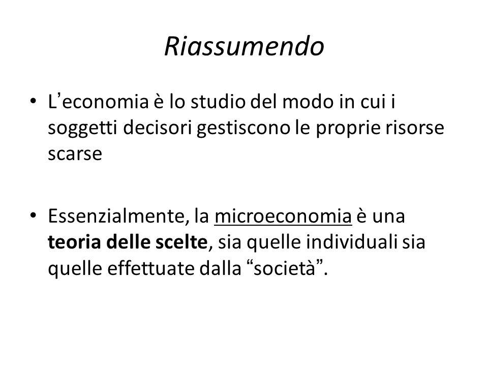 Riassumendo L'economia è lo studio del modo in cui i soggetti decisori gestiscono le proprie risorse scarse.