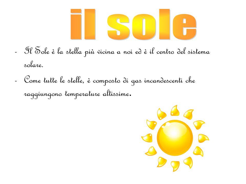 il sole Il Sole è la stella più vicina a noi ed è il centro del sistema solare.