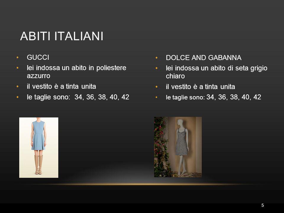 abiti ITALIANI le taglie sono: 34, 36, 38, 40, 42 GUCCI
