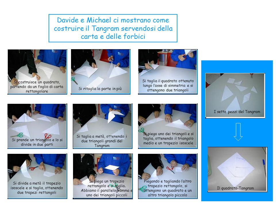 Davide e Michael ci mostrano come costruire il Tangram servendosi della carta e delle forbici