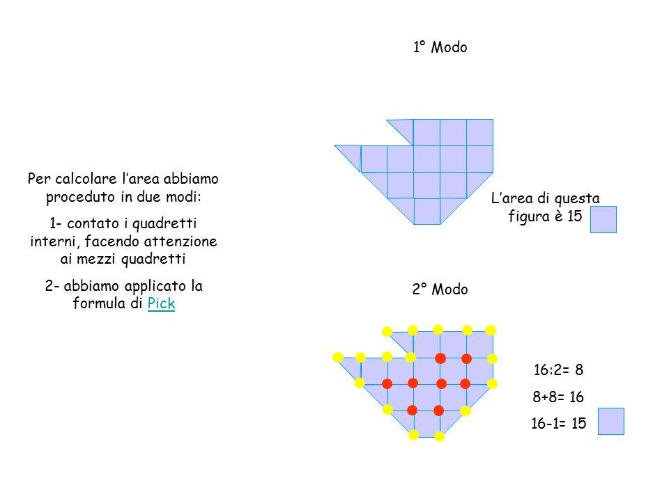Per calcolare l'area abbiamo proceduto in due modi: