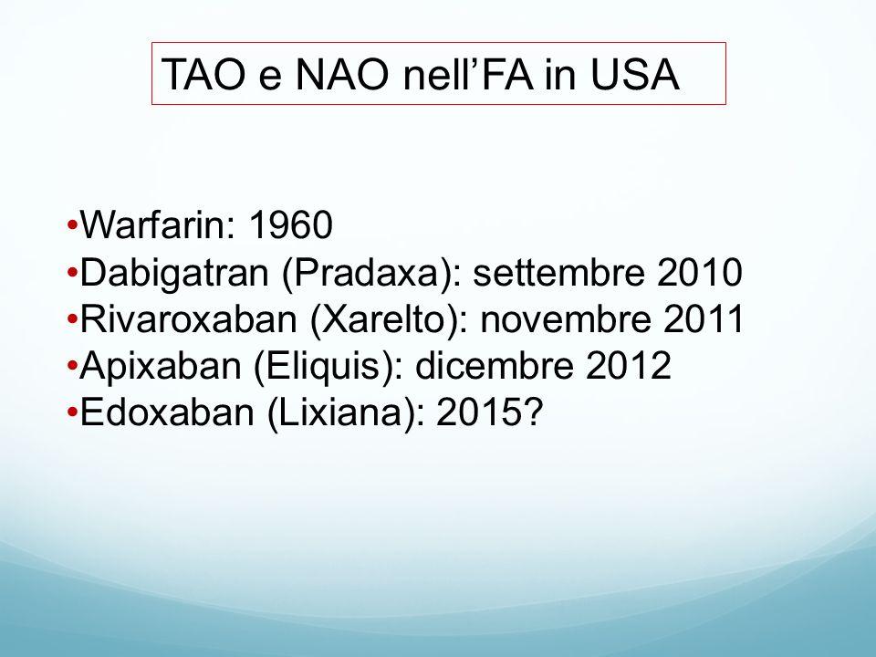 TAO e NAO nell'FA in USA Warfarin: 1960